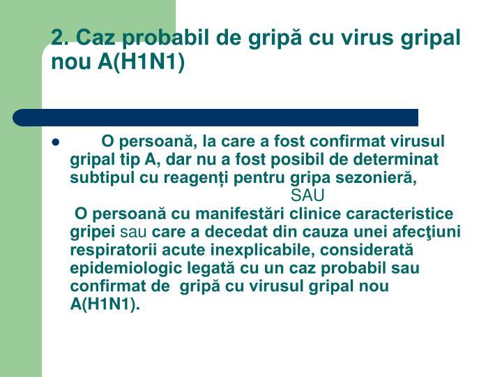 2. Caz probabil de gripă cu virus gripal nou A(H1N1)
