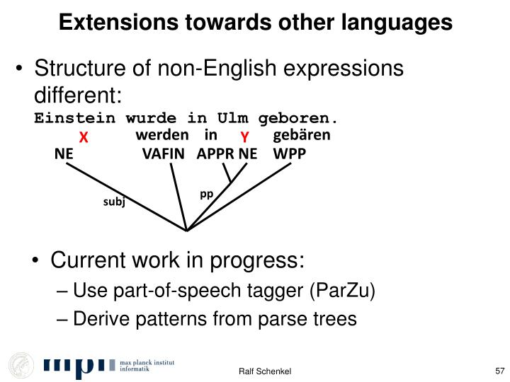 Extensions towards other languages