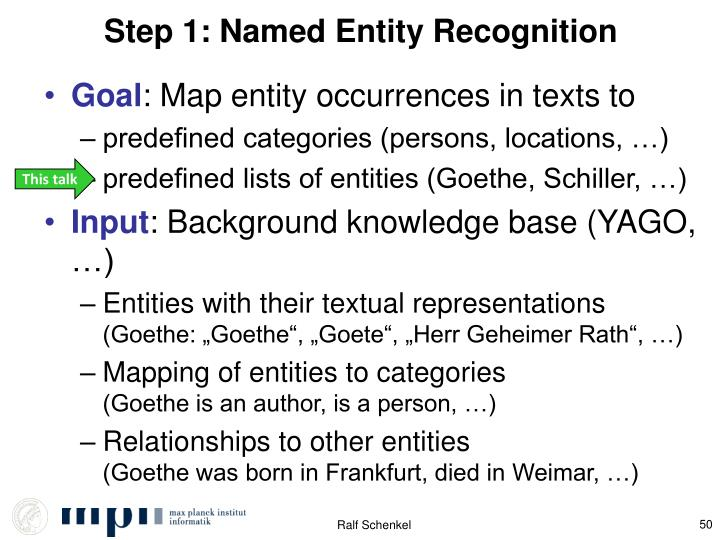 Step 1: Named Entity Recognition