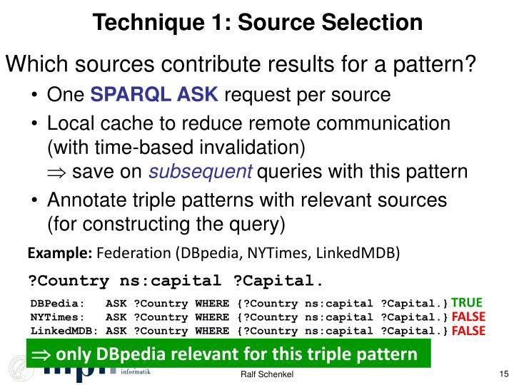 Technique 1: Source Selection