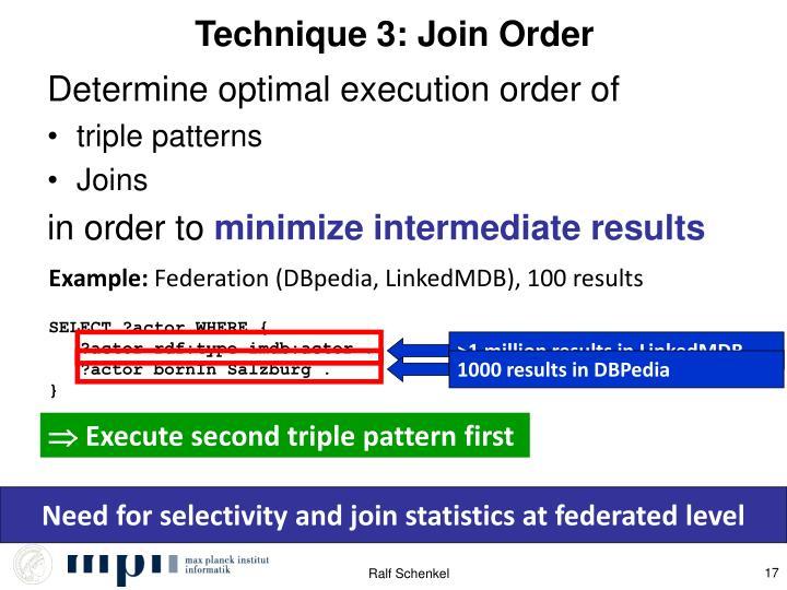 Technique 3: Join Order
