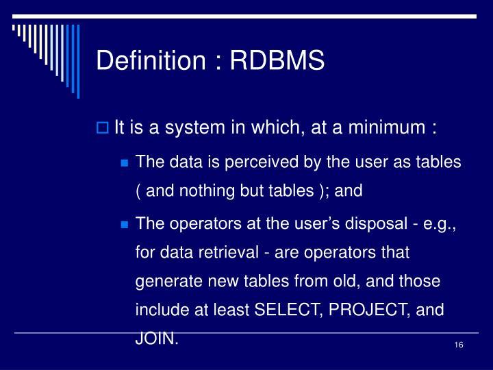 Definition : RDBMS