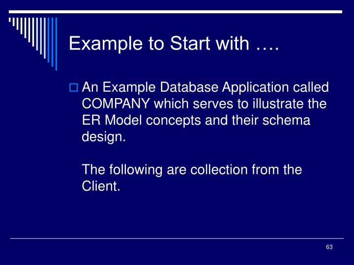 Example to Start with ….