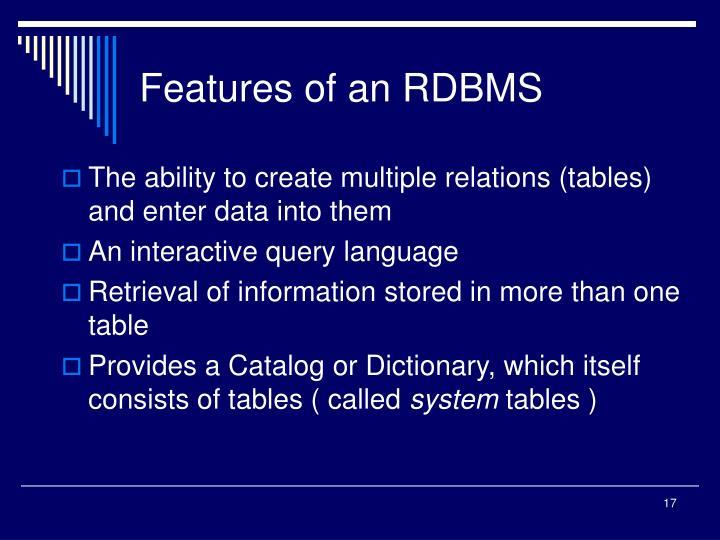 Features of an RDBMS