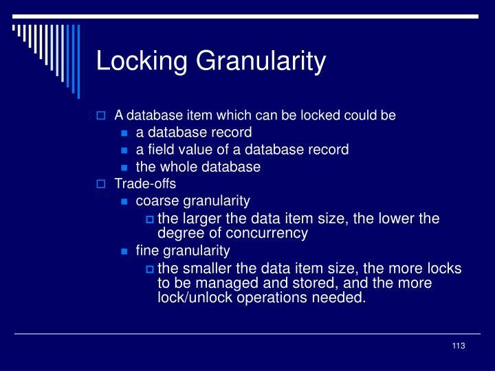 Locking Granularity