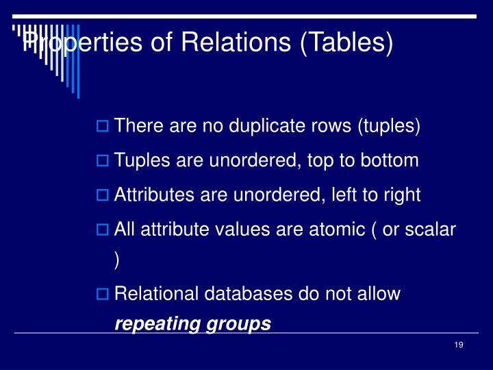 Properties of Relations (Tables)