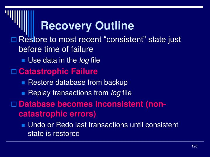 Recovery Outline
