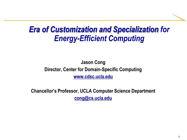 Era of customization and specialization for energy efficient computing