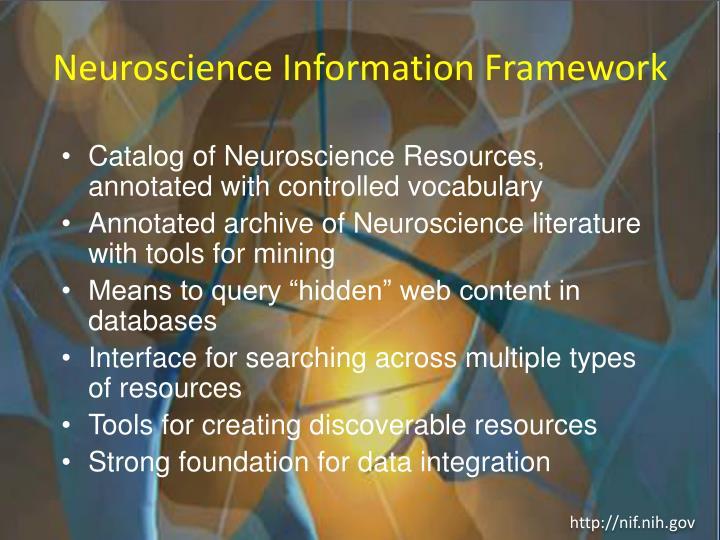 Neuroscience information framework