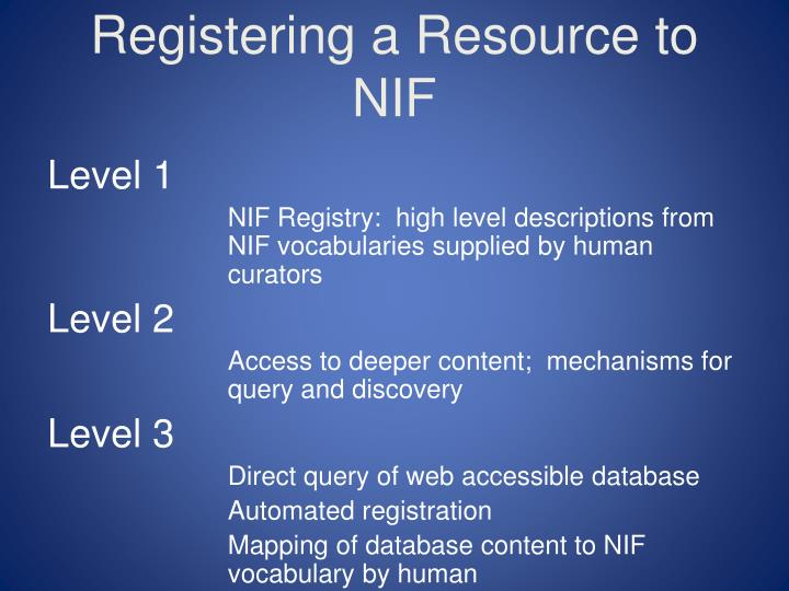 Registering a Resource to NIF