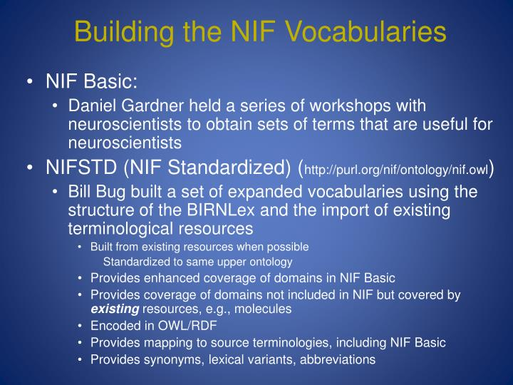 Building the NIF Vocabularies