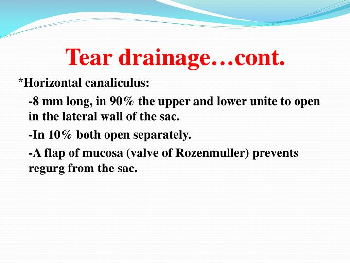 Tear drainage…cont.