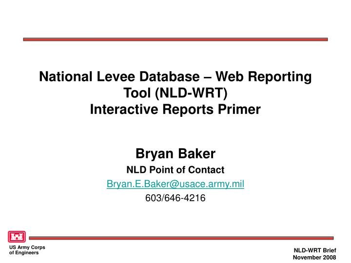 national levee database web reporting tool nld wrt interactive reports primer n.