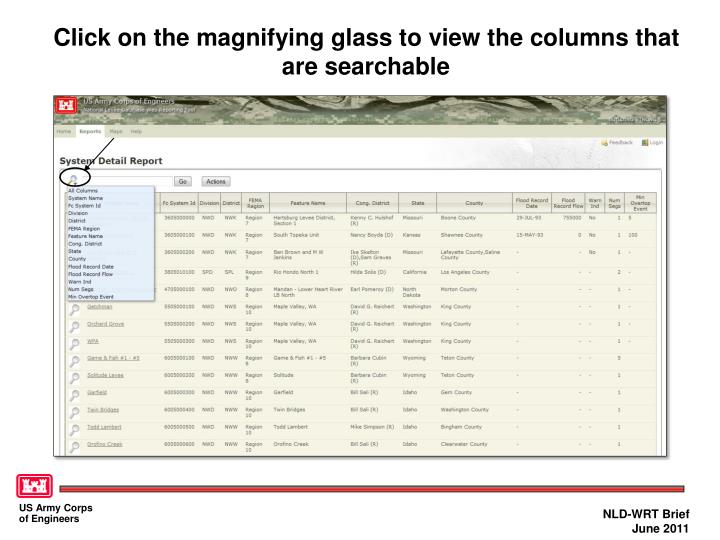 Click on the magnifying glass to view the columns that are searchable