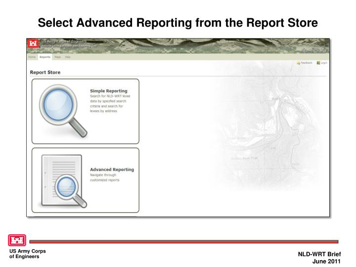 Select advanced reporting from the report store