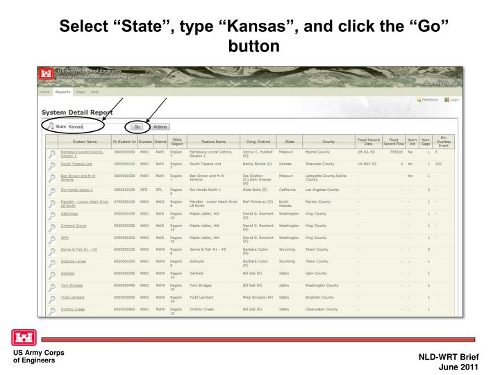 """Select """"State"""", type """"Kansas"""", and click the """"Go"""" button"""