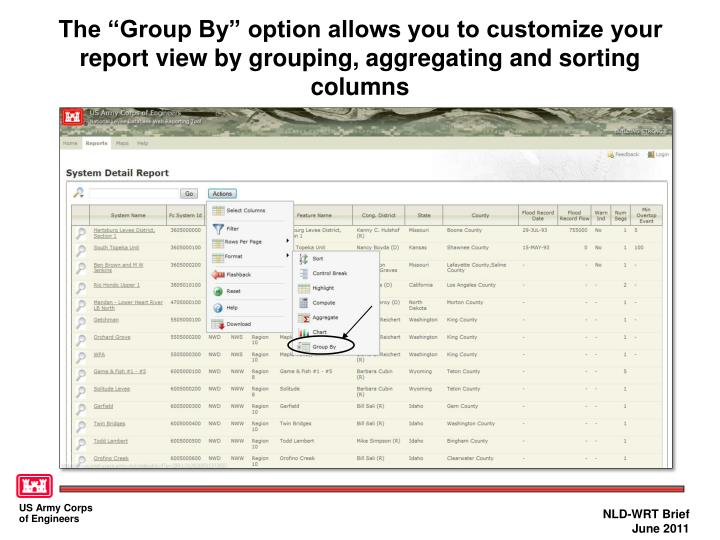 """The """"Group By"""" option allows you to customize your report view by grouping, aggregating and sorting columns"""