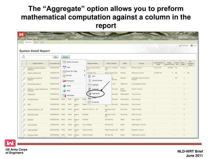 """The """"Aggregate"""" option allows you to preform mathematical computation against a column in the report"""