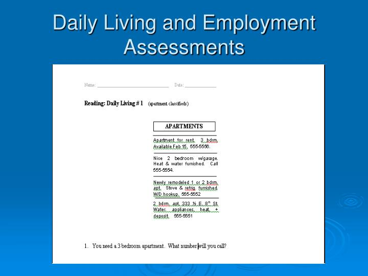 Daily Living and Employment Assessments