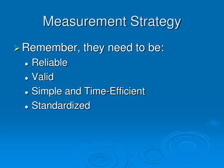 Measurement Strategy