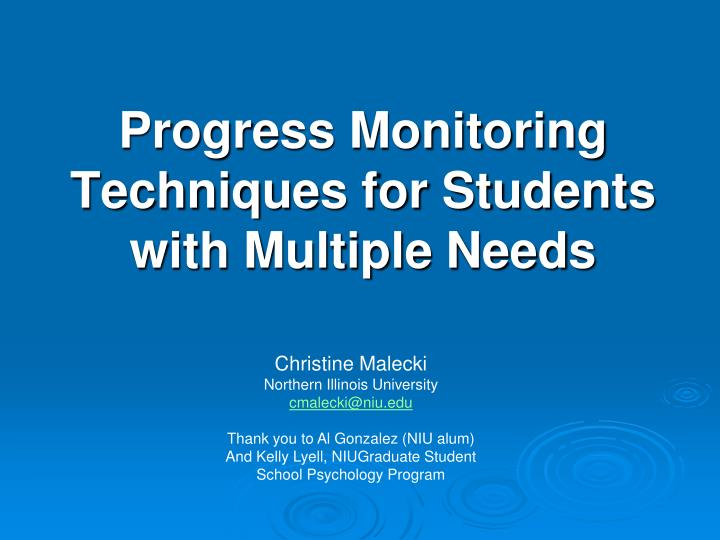 Progress monitoring techniques for students with multiple needs