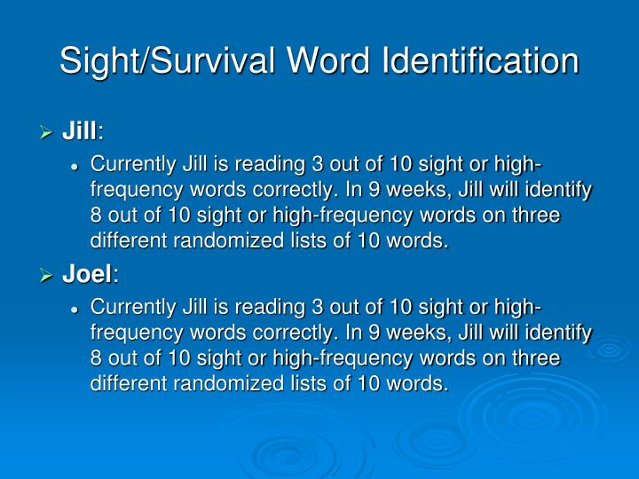 Sight/Survival Word Identification