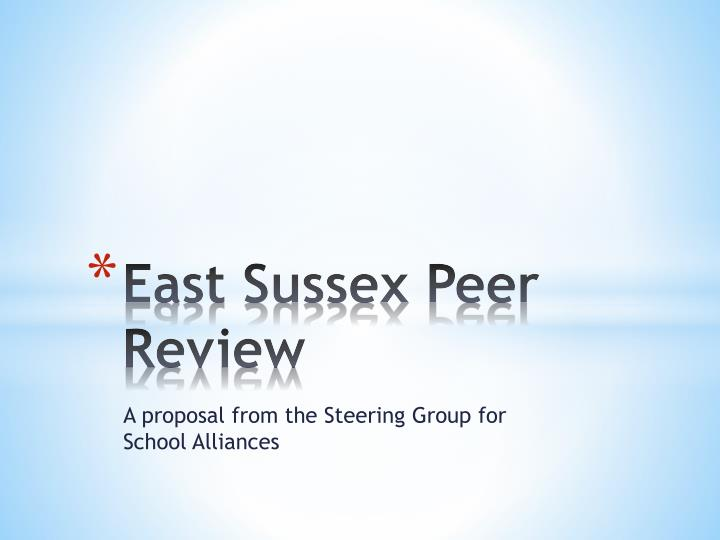 East sussex peer review