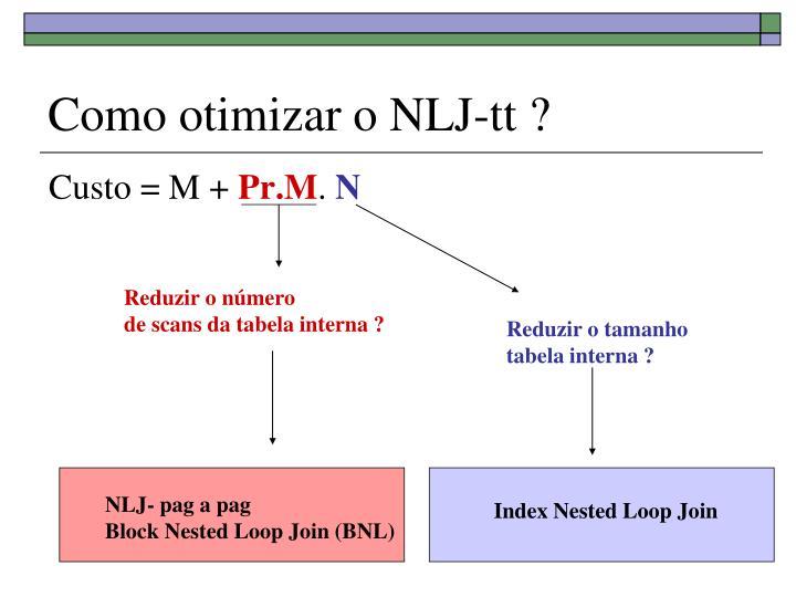 Como otimizar o NLJ-tt ?