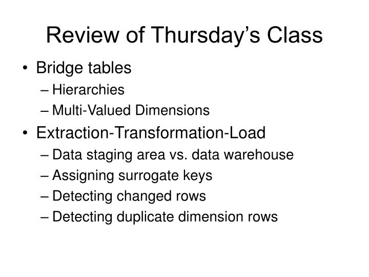 Review of thursday s class