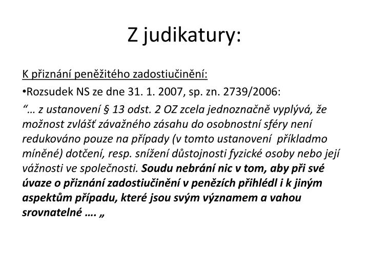 Z judikatury: