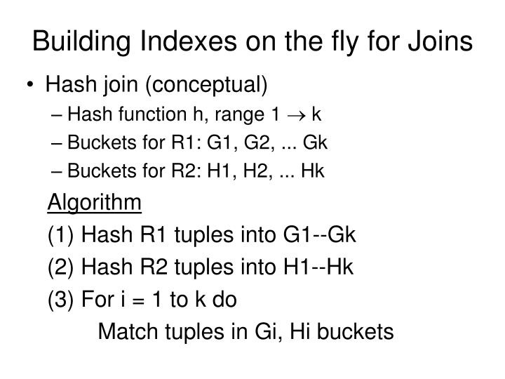 Building Indexes on the fly for Joins