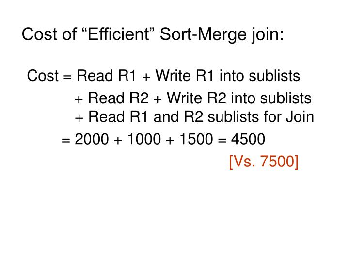 "Cost of ""Efficient"" Sort-Merge join:"