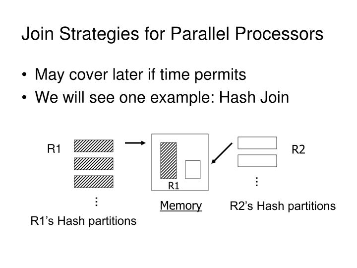Join Strategies for Parallel Processors