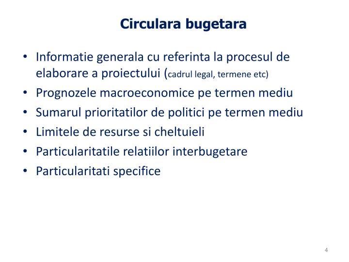 Circulara bugetara