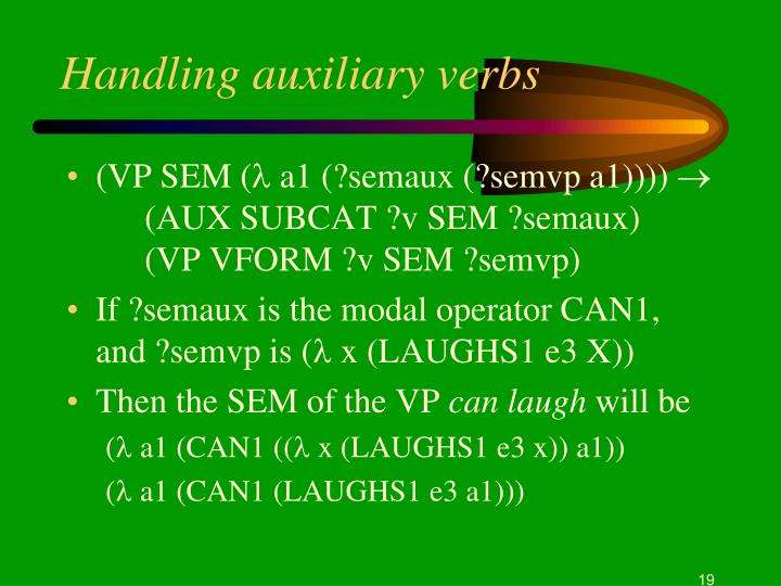 Handling auxiliary verbs