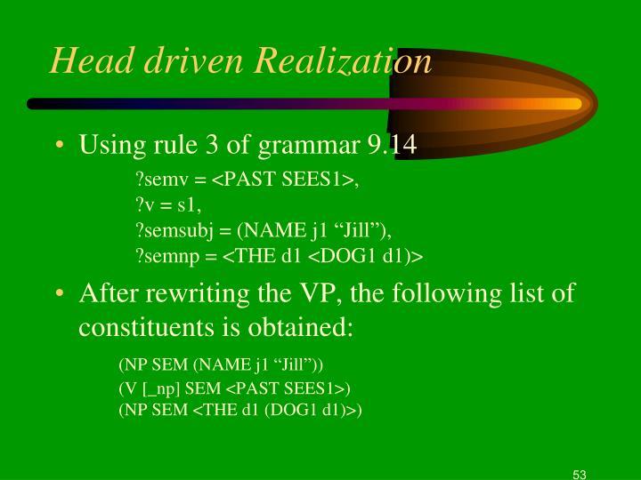 Head driven Realization