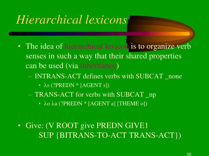 Hierarchical lexicons