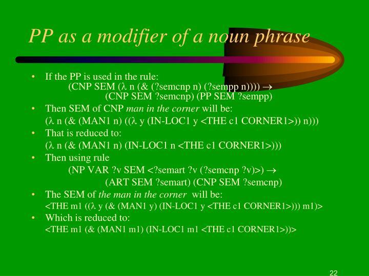 PP as a modifier of a noun phrase