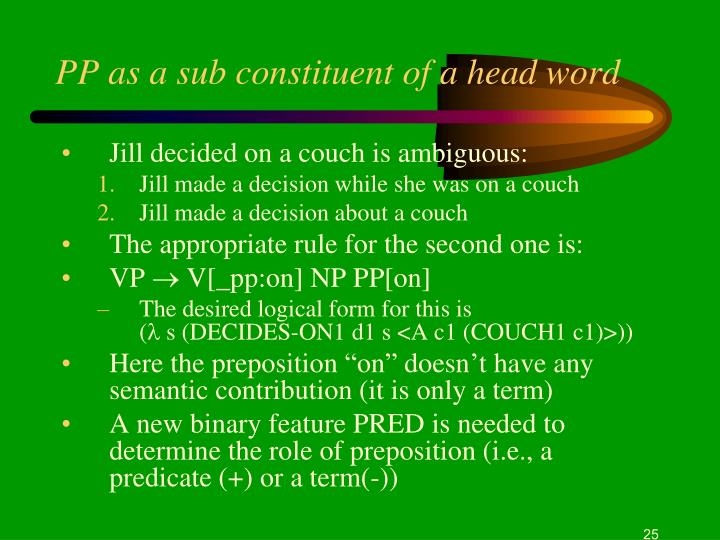 PP as a sub constituent of a head word