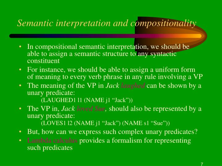 Semantic interpretation and compositionality