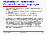 phonetically transcribed corpora for other languages