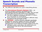 speech sounds and phonetic transcription2