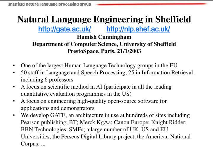 Natural Language Engineering in Sheffield