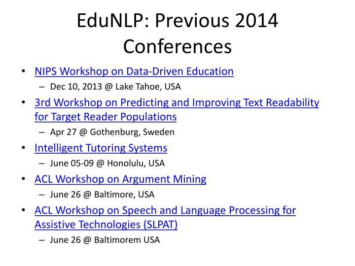 EduNLP: Previous 2014 Conferences