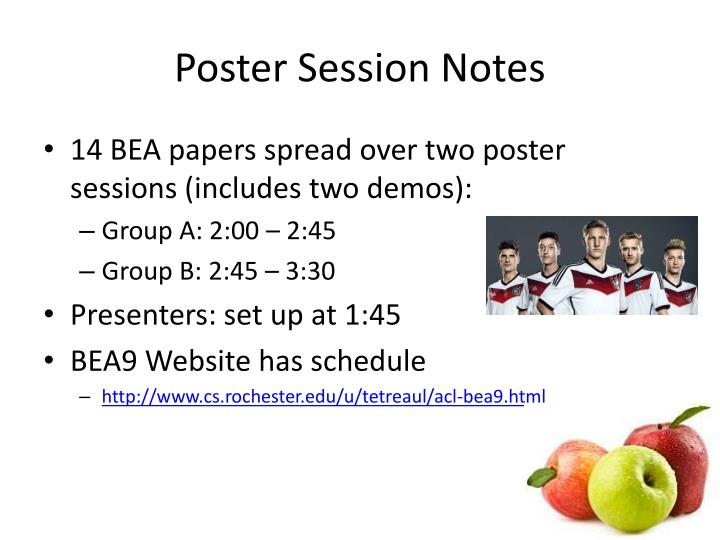 Poster Session Notes