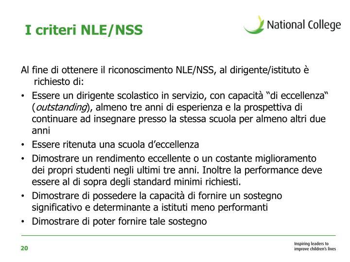 I criteri NLE/NSS