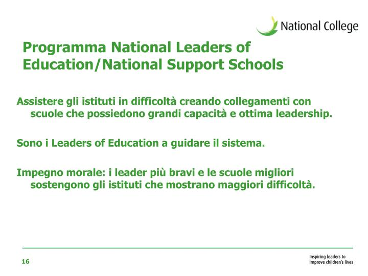 Programma National Leaders of Education/National Support Schools