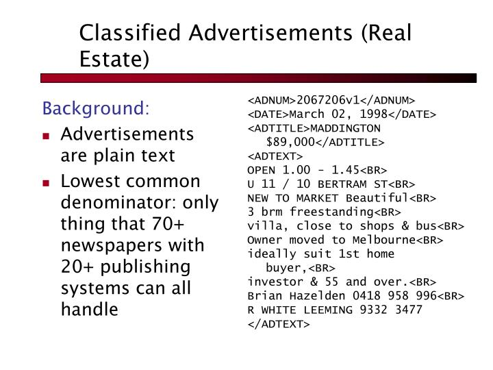 Classified Advertisements (Real Estate)