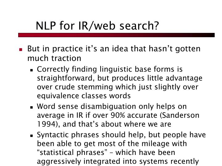 NLP for IR/web search?