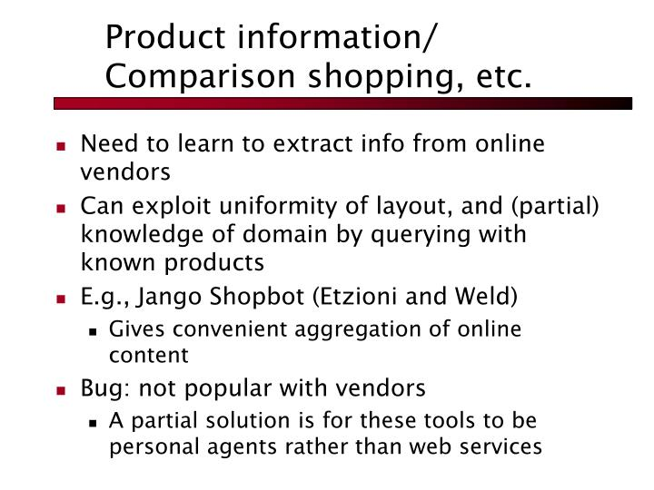 Product information/ Comparison shopping, etc.